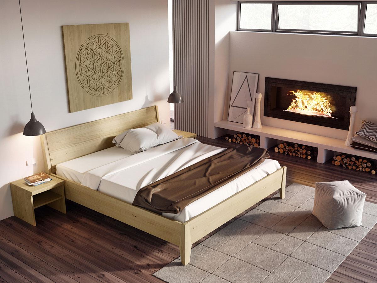 """Schlafzimmer mit Bett Kastanie massiv """"Andreas"""" 180 x 200 cm"""