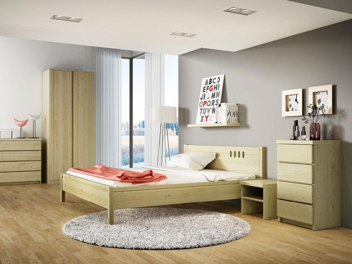 """Schlafzimmer mit Nachttisch in Kastanie """"Alfred"""" in Standardhöhe"""