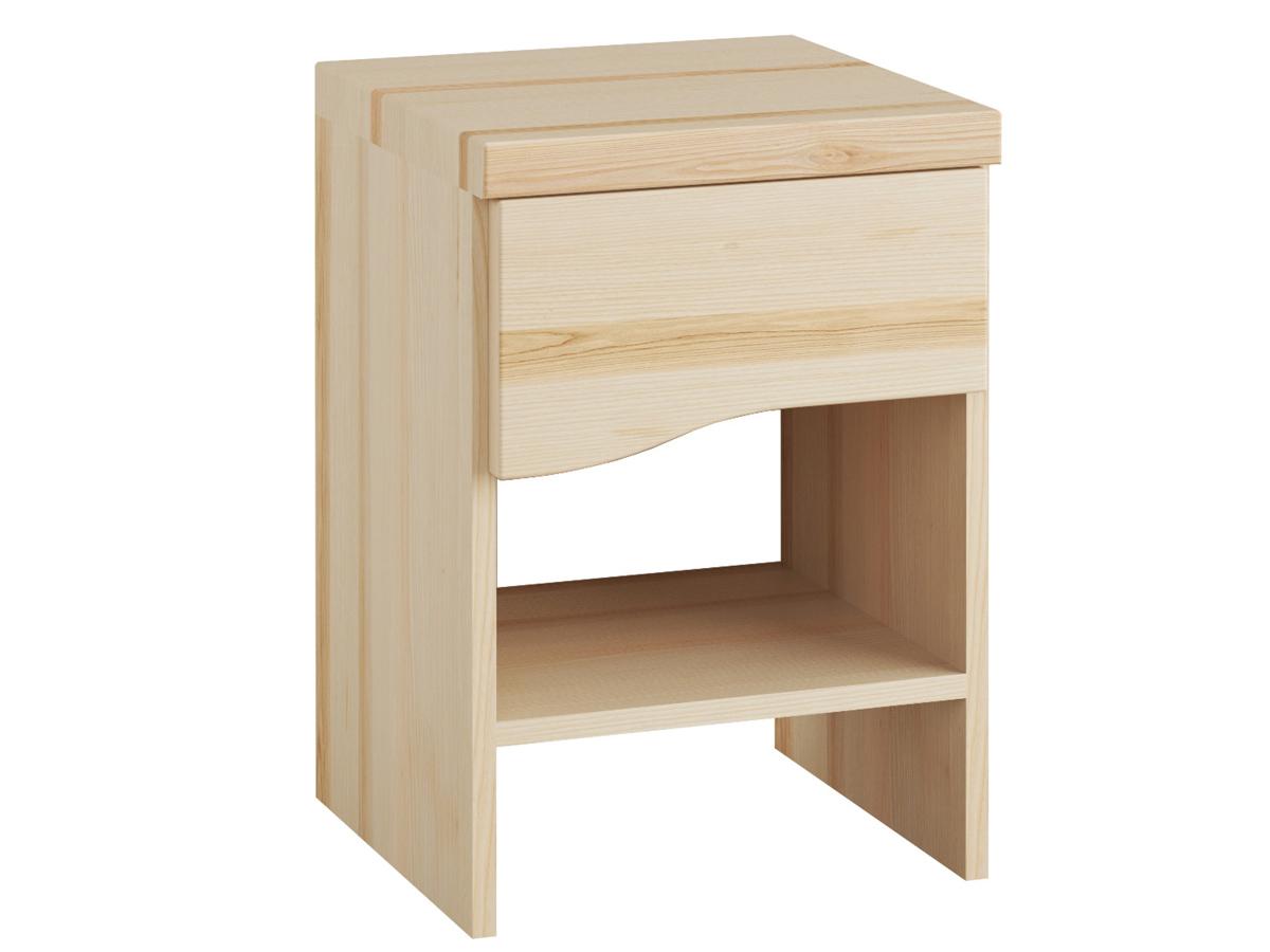"""Nachttisch aus Esche """"Astrid"""" mit einer Schublade, in Boxspringhöhe"""