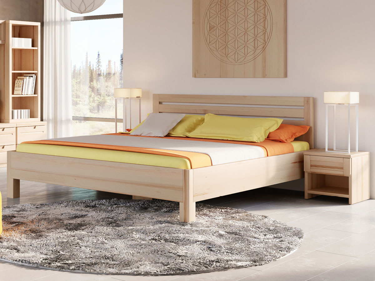 """Schlafzimmer mit Eschenholzbett """"Axel"""" 180 x 200 cm"""