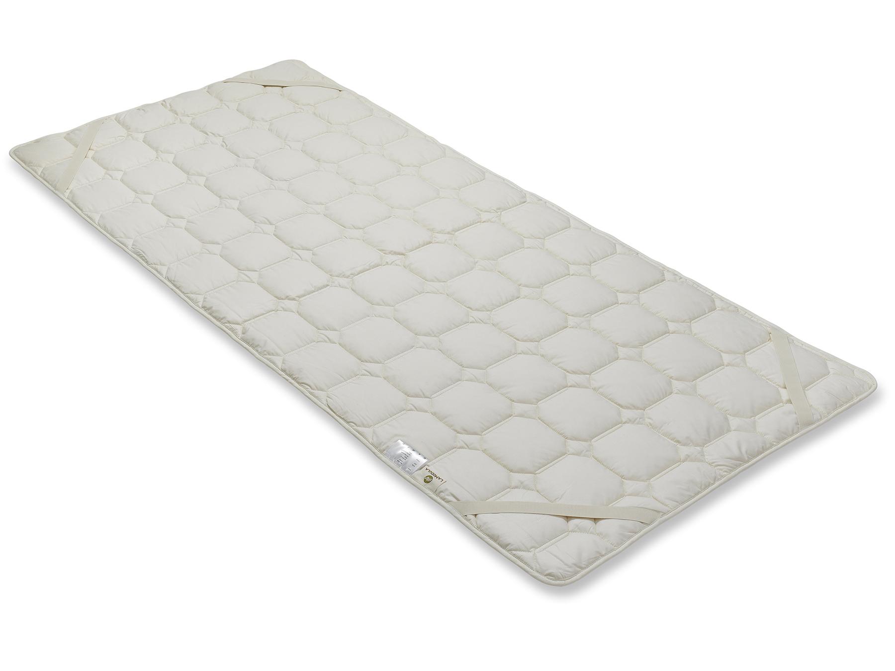 Mit den vier praktischen Schräggummibändern wird der Matratzenschoner an der Matratze befestigt.