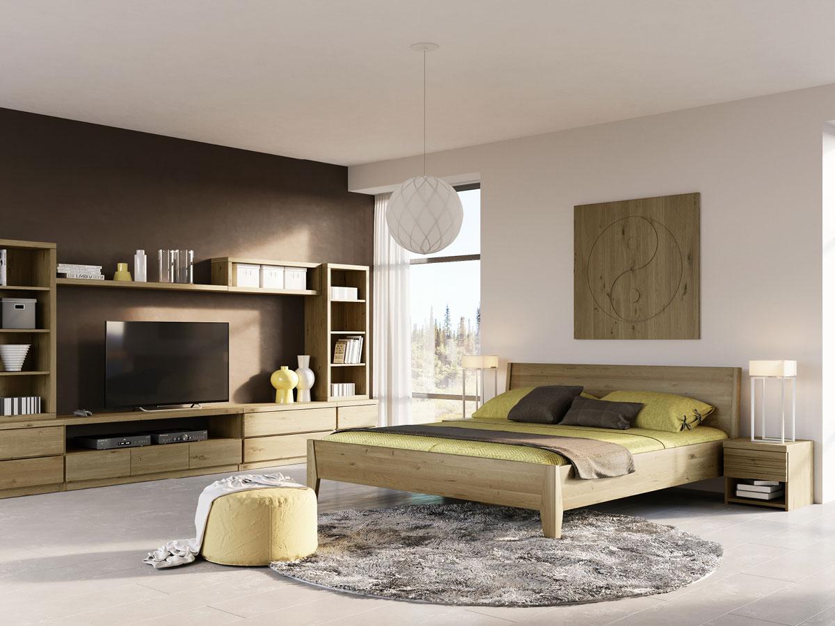 """Schlafzimmer mit Wildeichenholzbett """"Benjamin"""" 180 x 200 cm"""