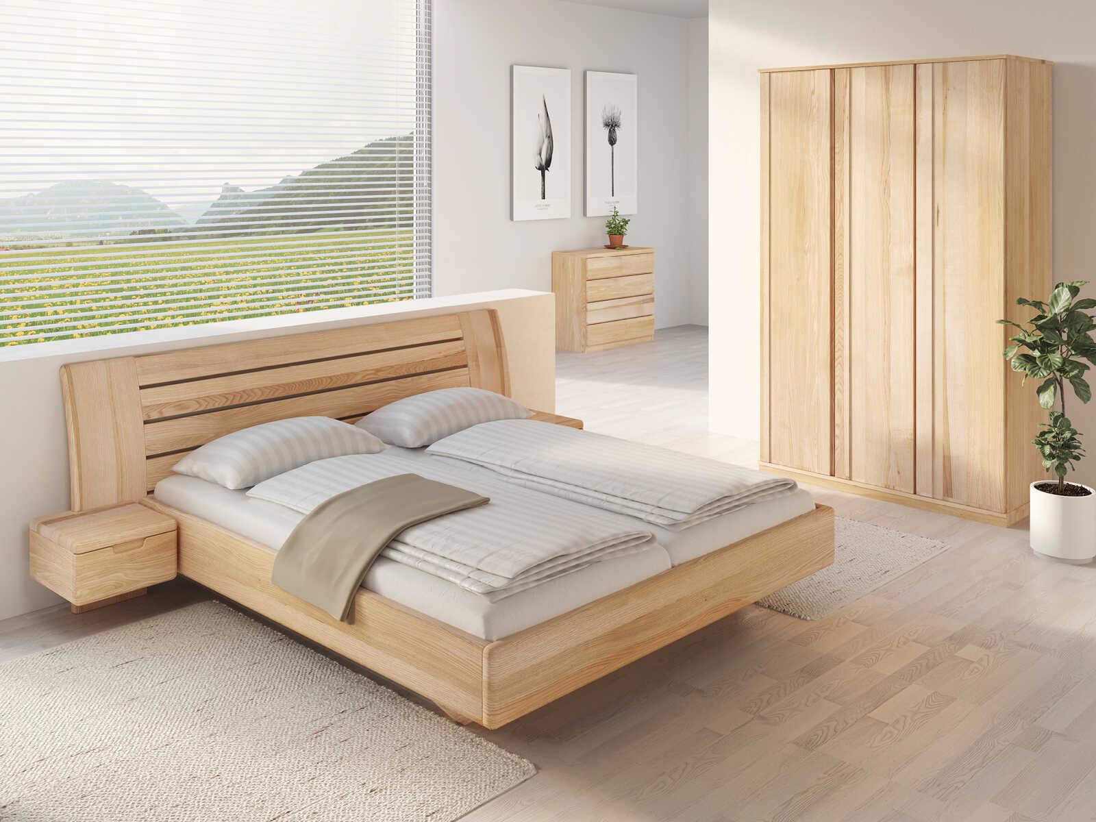 """Schlafzimmer aus Massivholz Esche mit Bett """"Bettina"""" 180 x 200 cm mit schmalen Nachttischen"""