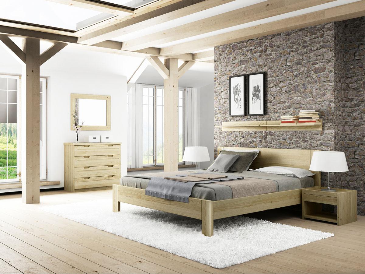"""Schlafzimmer mit zwei Regalen """"David"""" in Kastanie"""