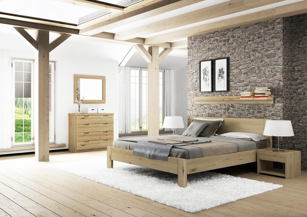 """Schlafzimmer mit zwei Regalen """"David"""" in Wildeiche"""