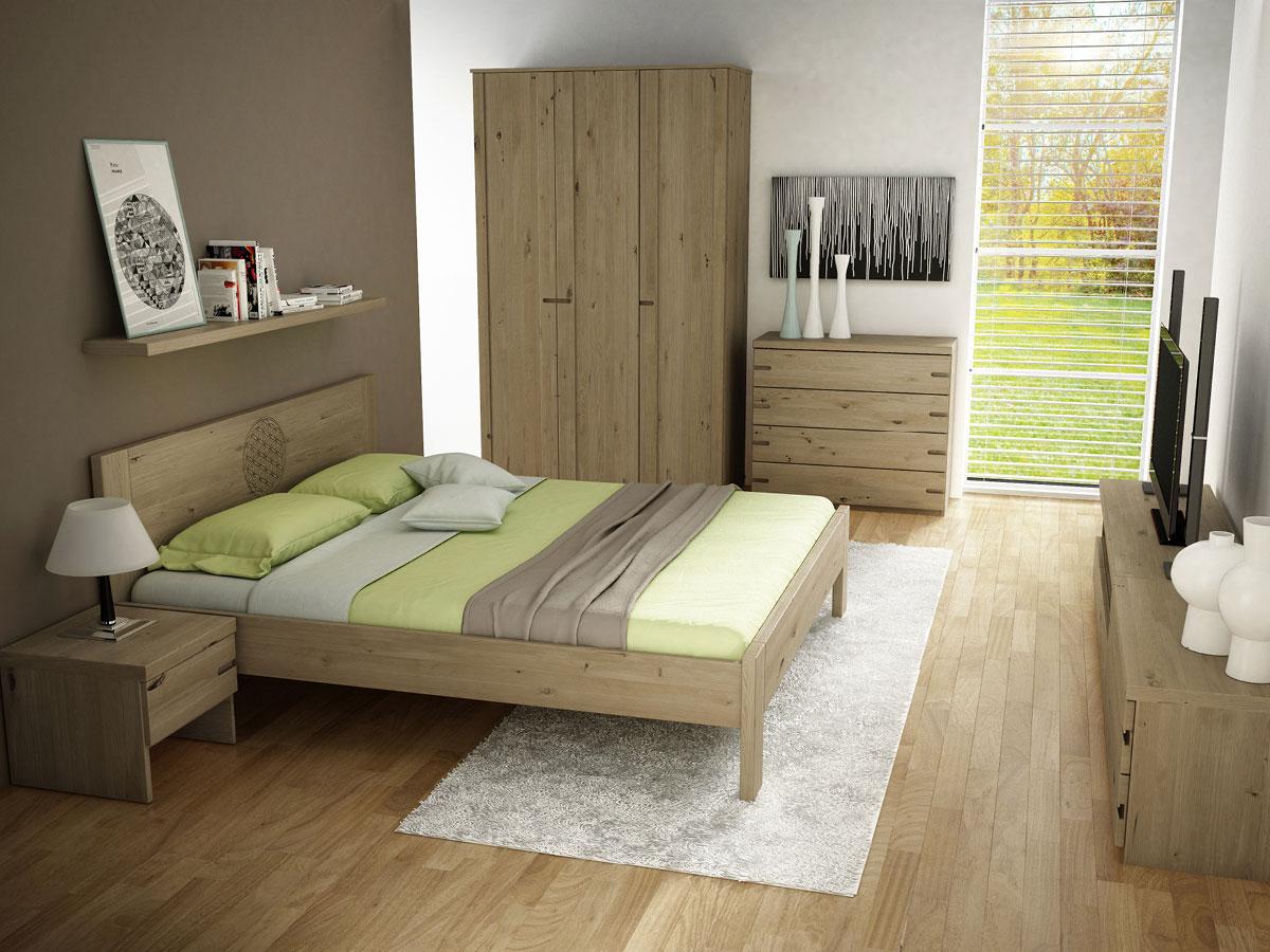 """Schlafzimmer mit Nachtkästchen in Wildeiche """"Stefan"""""""
