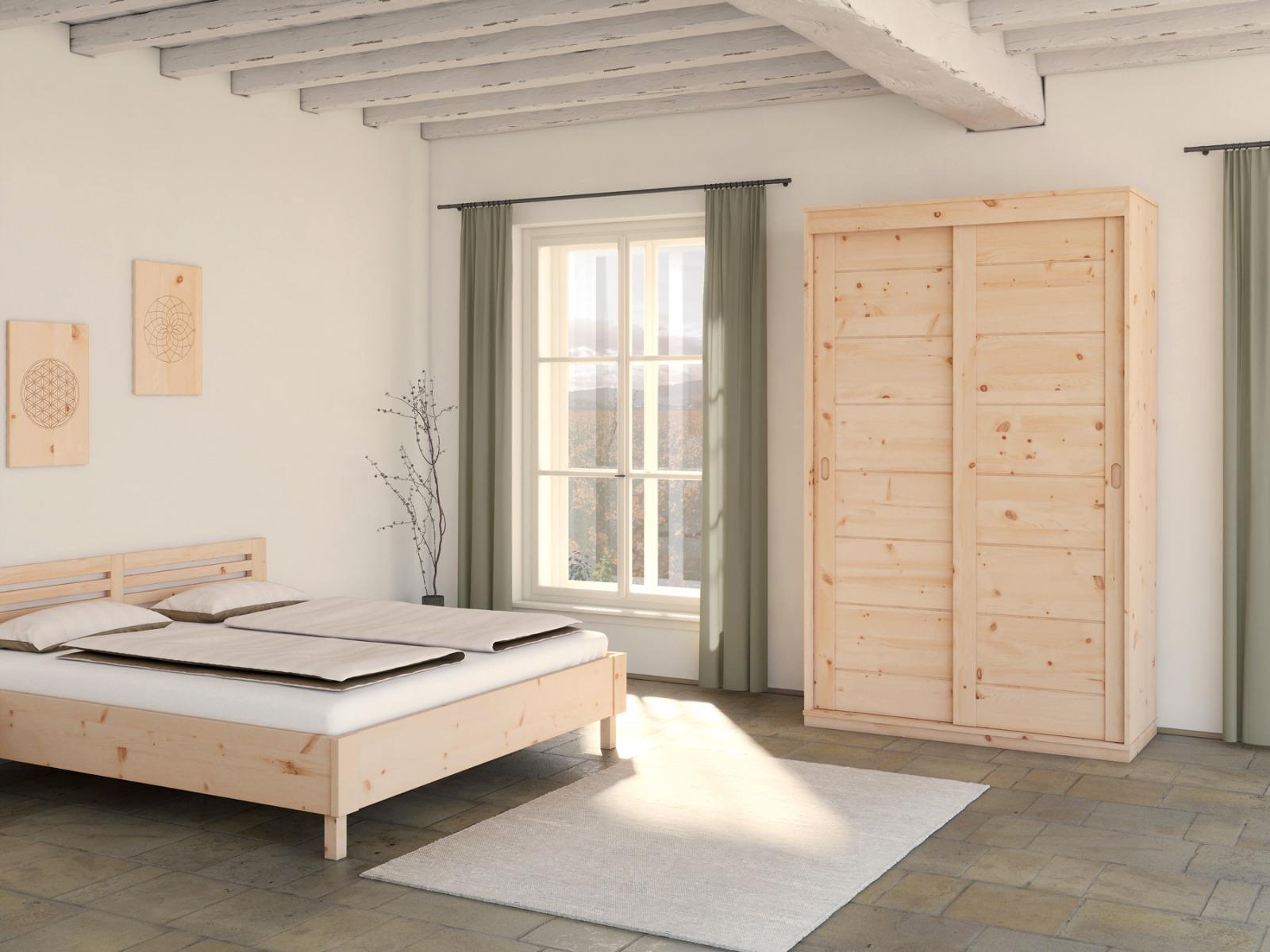 """Zirbenschlafzimmer mit Zirbenschrank """"Carmen"""" 2-türig, Höhe 235 cm"""
