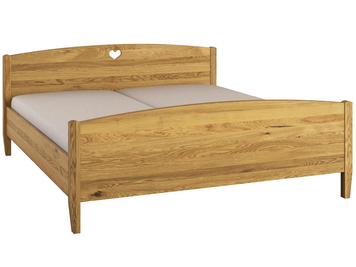 """Bett Eiche """"Heidi"""" 180 x 200 cm - mit erhöhtem runden Fußteil"""