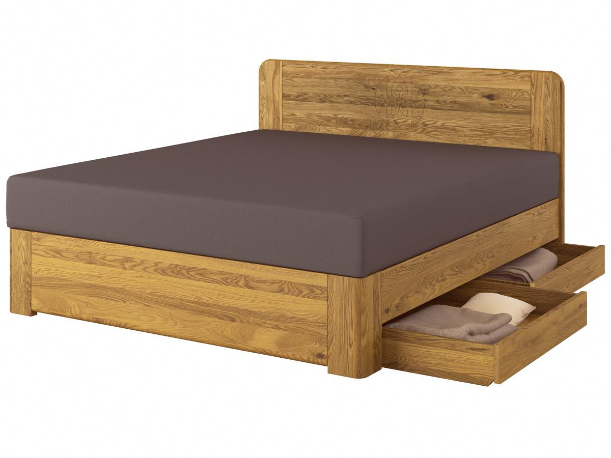 """Eichenholzbett """"Niklas"""" Boxspring mit Gravur mit zwei Unterbettkommoden (2 x 91 cm) rechts"""