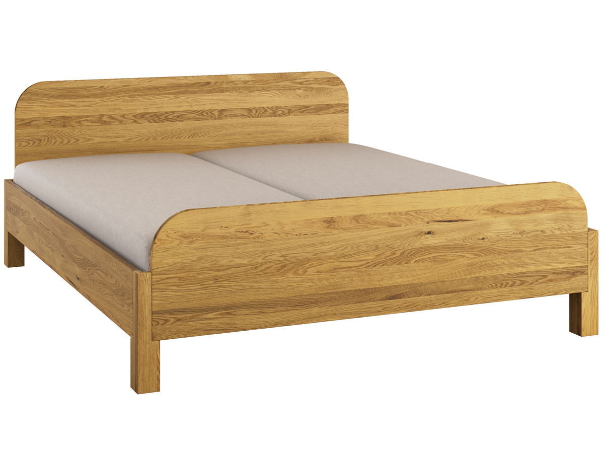 """Bett Eiche """"Samuel"""" 180 x 200 cm - mit erhöhtem Fußteil"""