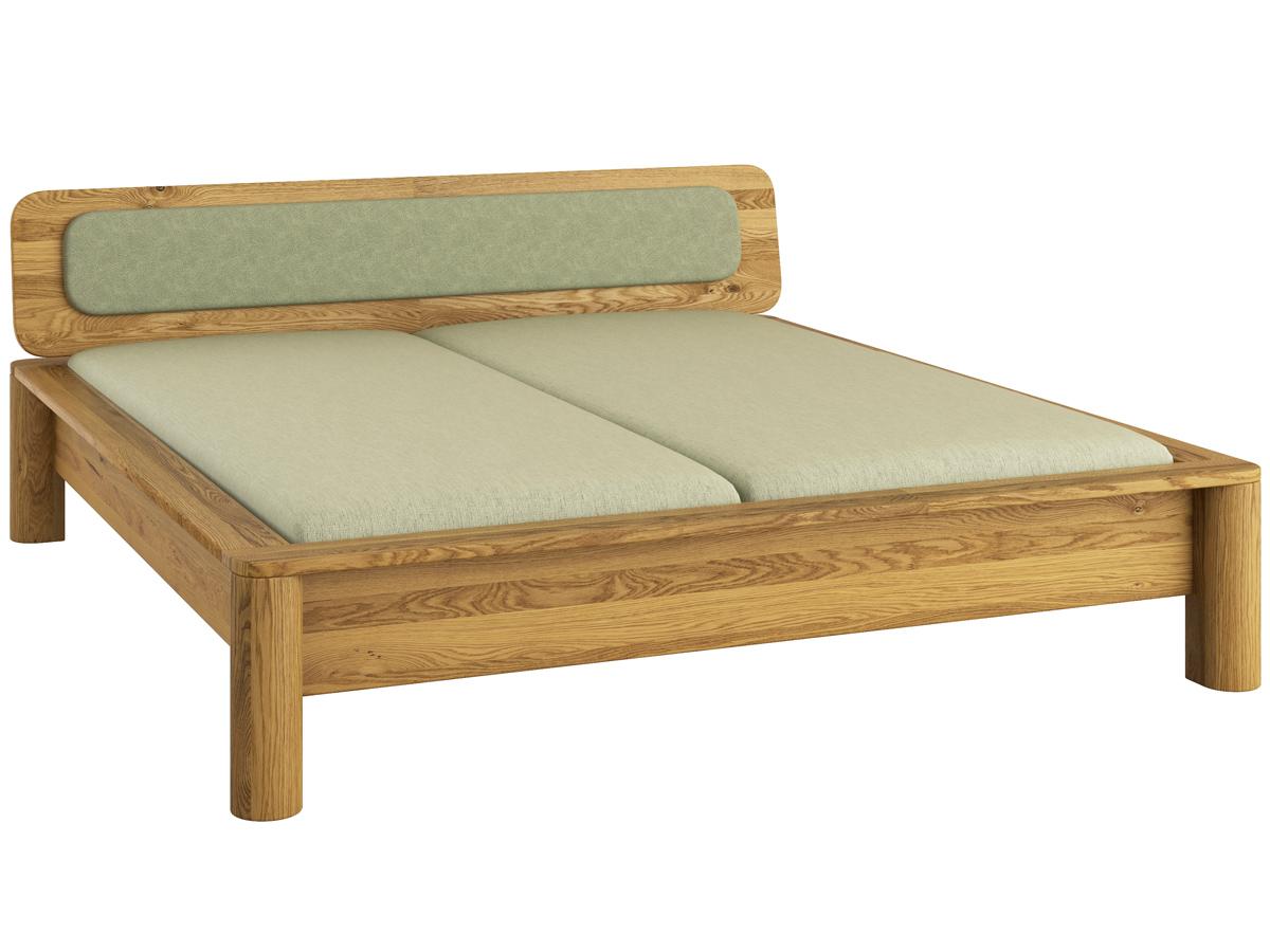 """Eiche massiv Bett """"Tamara""""  mit Polsterung in moosgrün"""