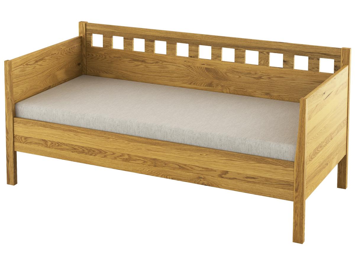 """Eichen-Sofabett """"Katrin"""" 90 x 200 cm - mit zwei Armlehnen"""