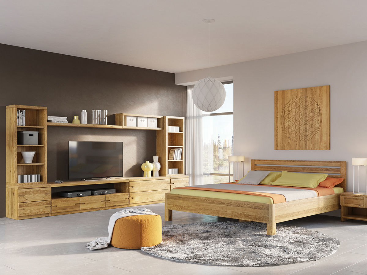"""Eichenschlafzimmer mit Eichenkasten """"Stefan"""""""