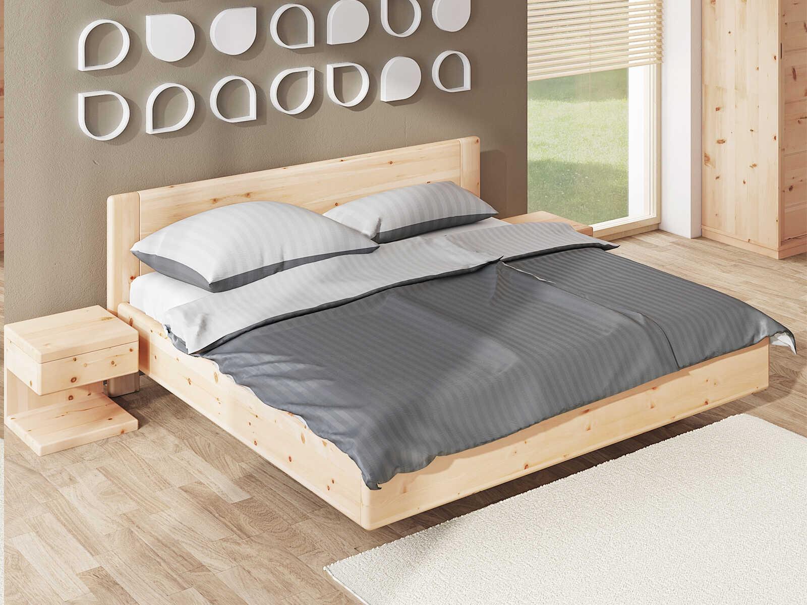 """Schlafzimmer aus Massivholz Zirbe mit Zirbenbett """"Elisabeth"""" 180 x 200 cm"""