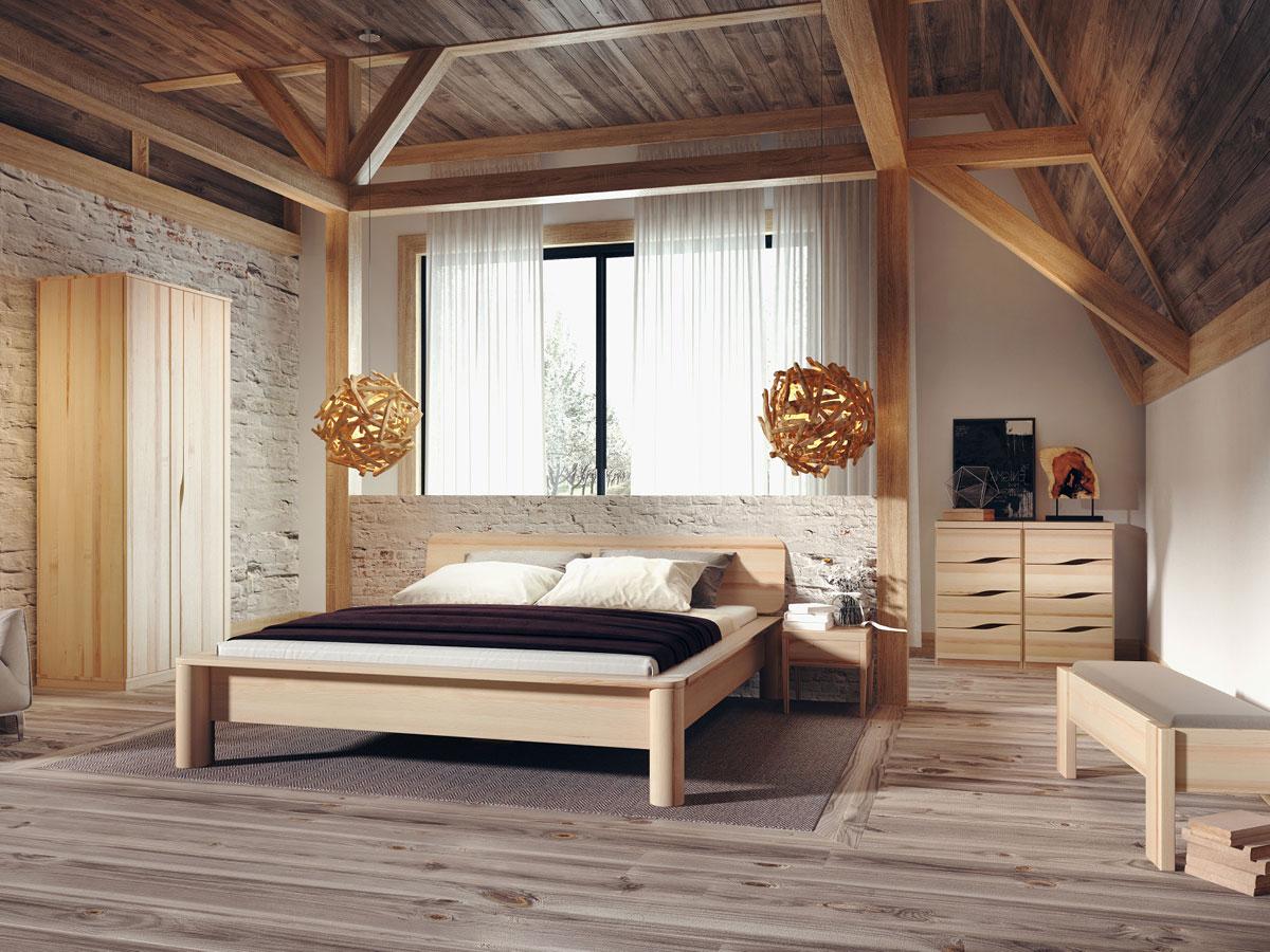"""Schlafzimmer mit Schrank aus Esche """"Astrid"""" 2-türig, Höhe 235 cm"""