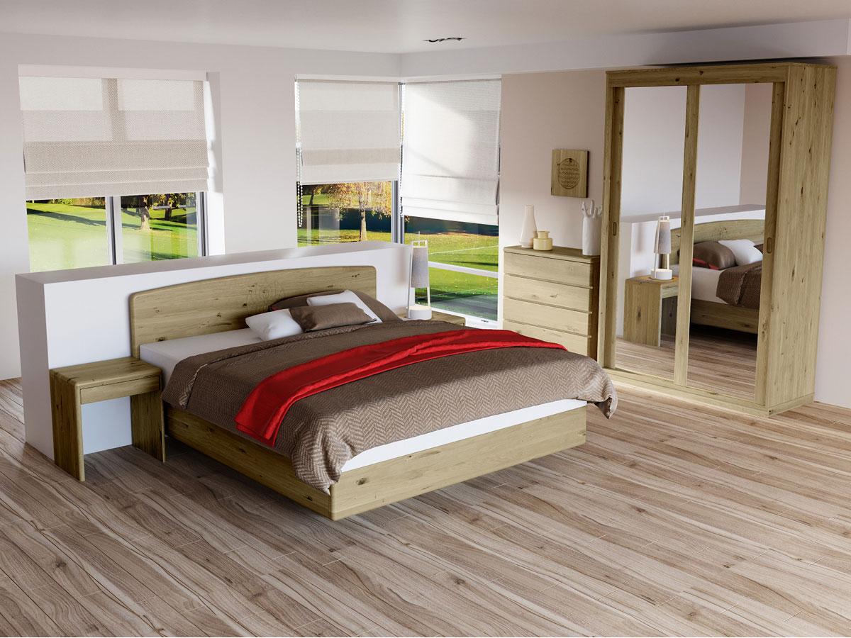 """Schlafzimmer in Wildeiche mit Nachtkästchen """"Doris"""""""