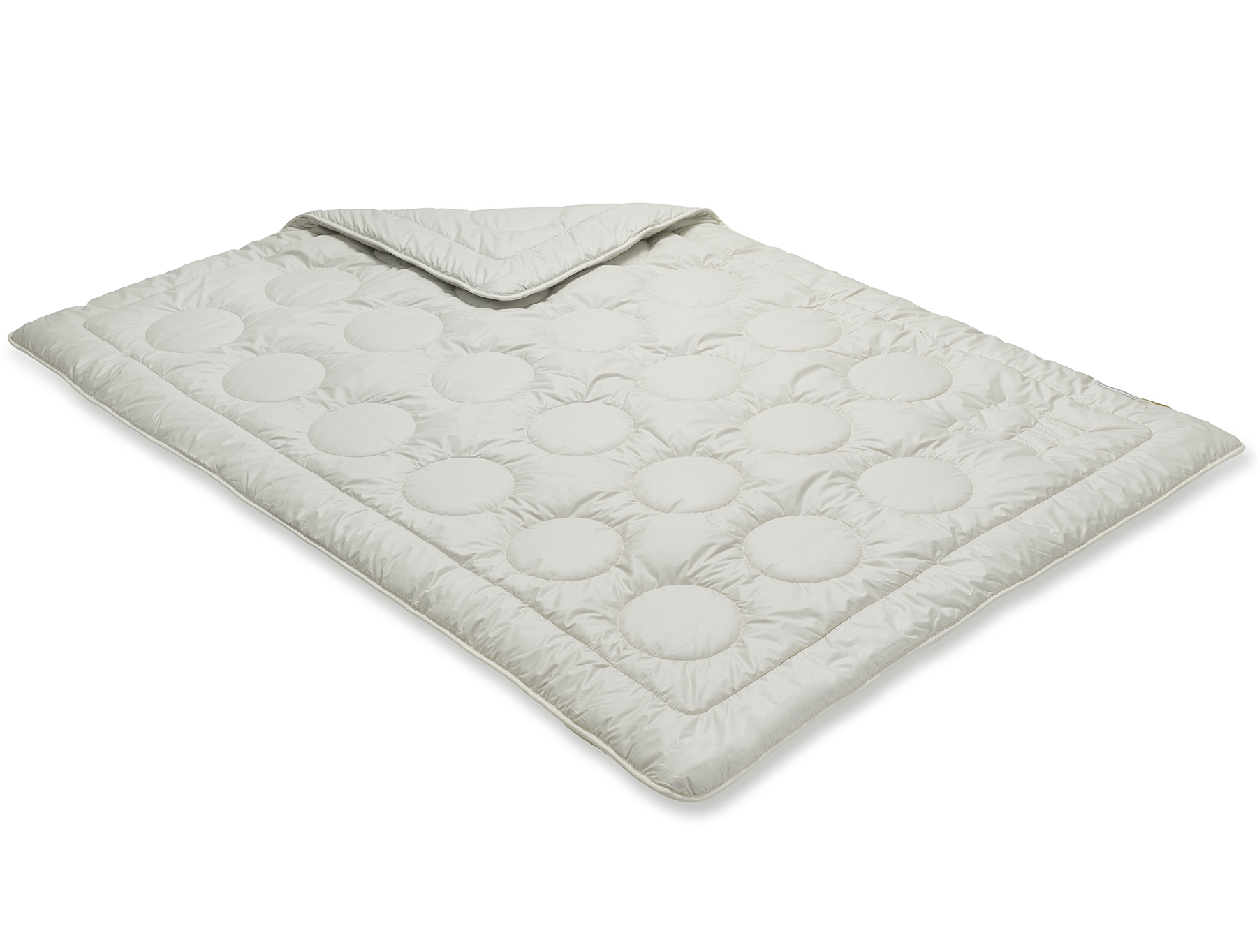 Wie man an der Steppung erkennt, wird die Decke in Einnadeltechnik hergestellt.