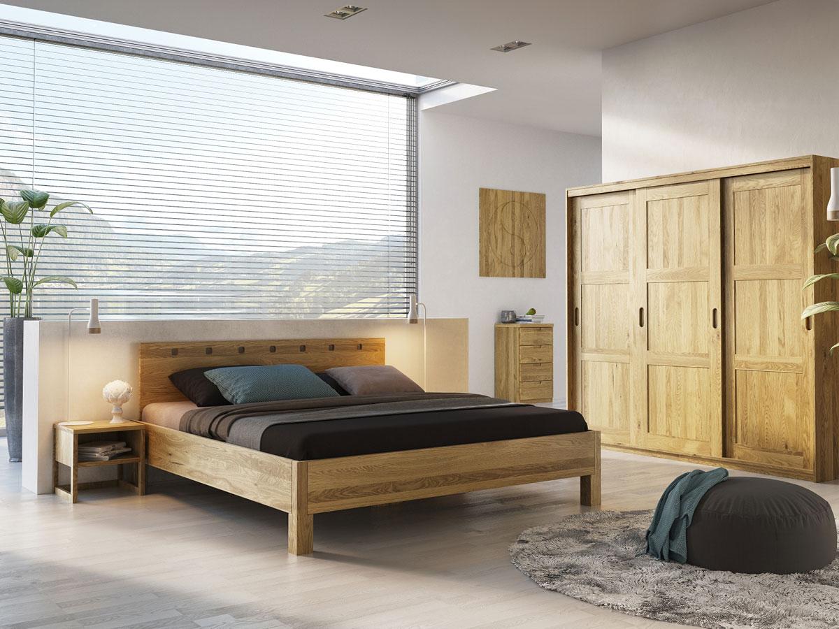 """Schlafzimmer mit Nachttisch """"Magdalena"""" in Eiche"""