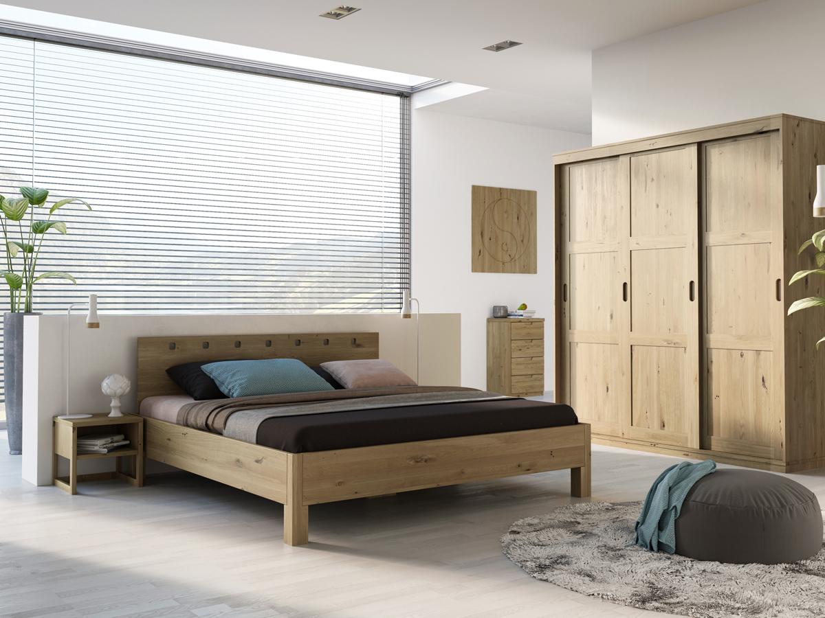 """Schlafzimmer mit Nachttisch """"Magdalena"""" in Wildeiche"""