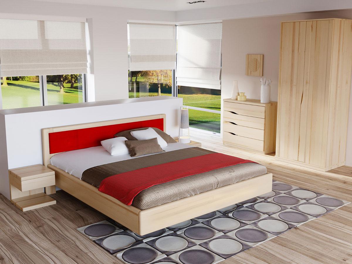 """Schlafzimmer mit Nachtkästchen aus Esche """"Valentina"""" in Standardhöhe"""