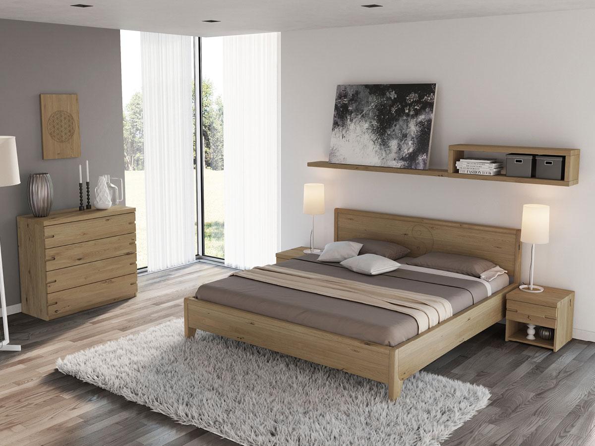 """Schlafzimmer mit Wildeichenbett """"Katja"""""""