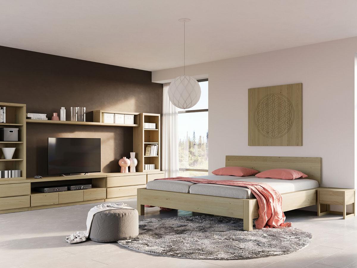 """Schlafzimmer mit Nachttisch """"Magdalena"""" in Kastanie"""