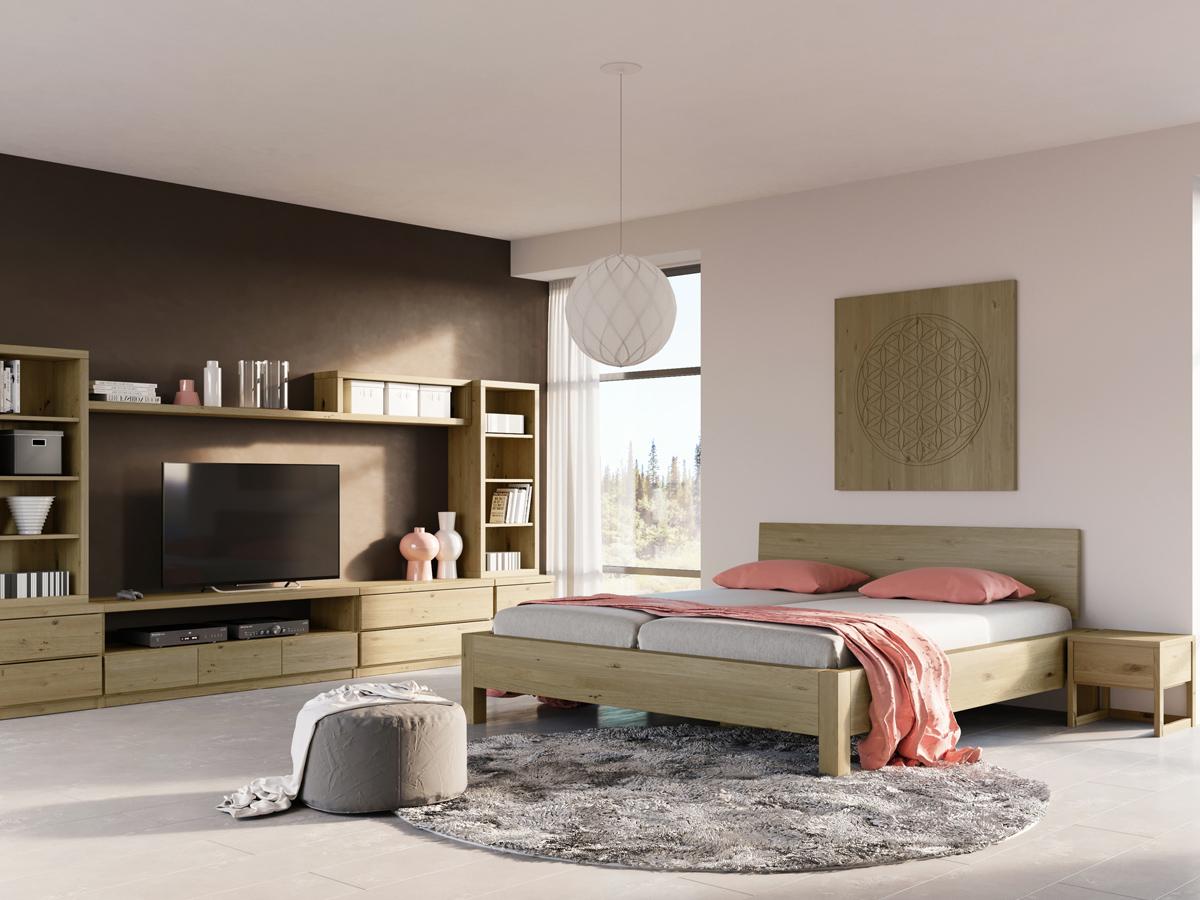 """Schlafzimmer mit Nachttisch in Wildeiche """"Lukas"""""""