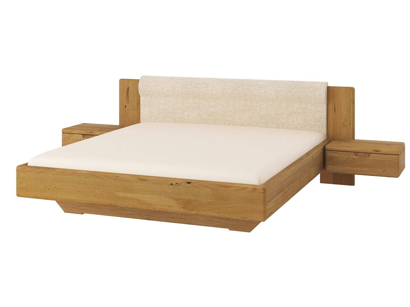 """Wildeichenbett """"Leonie"""" 180 x 200 cm mit breiten Nachtkästchen und Polsterkopfteil"""