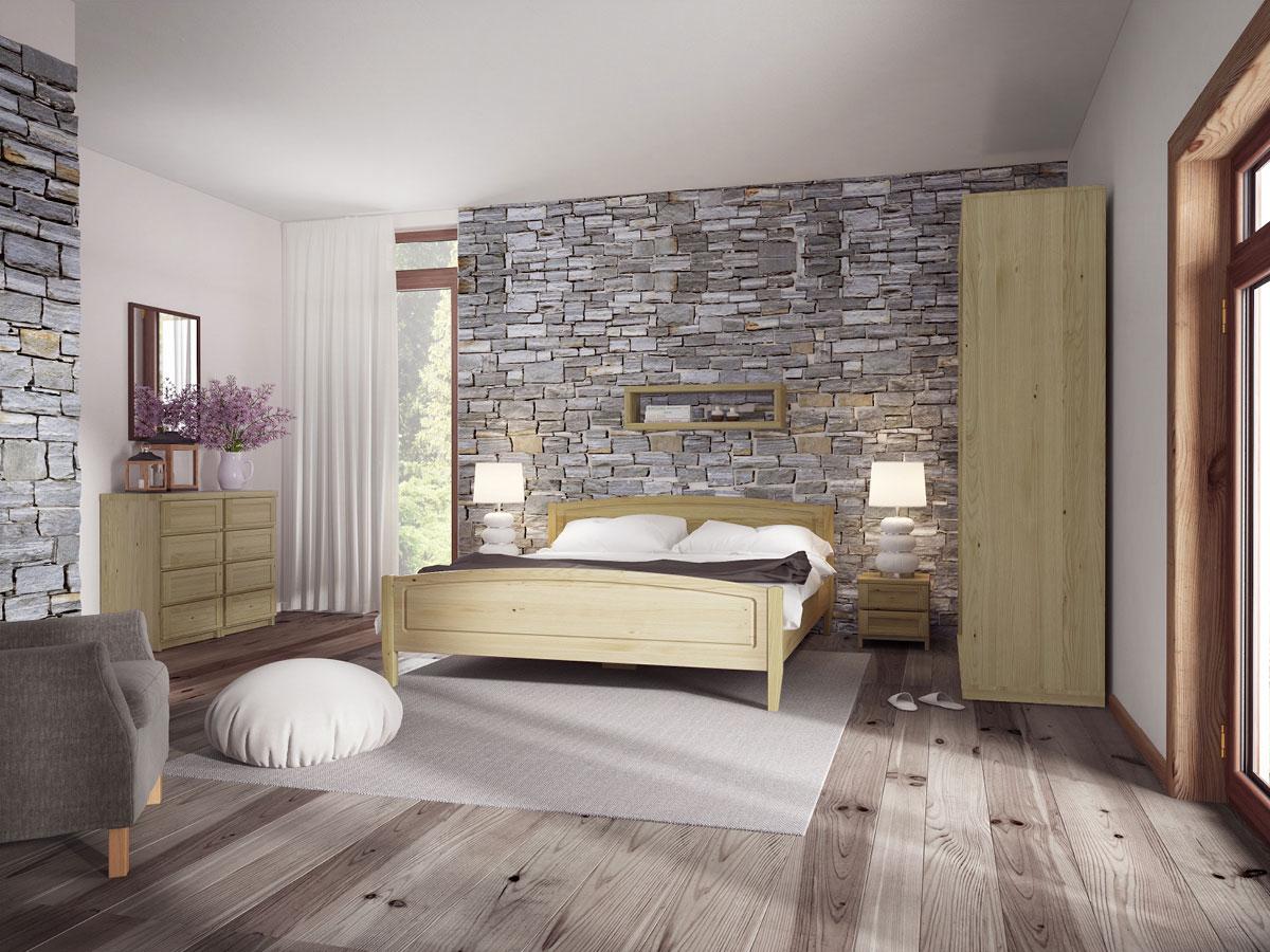 """Schlafzimmer mit Bett aus Kastanie """"Linda"""" 180 x 200 cm"""