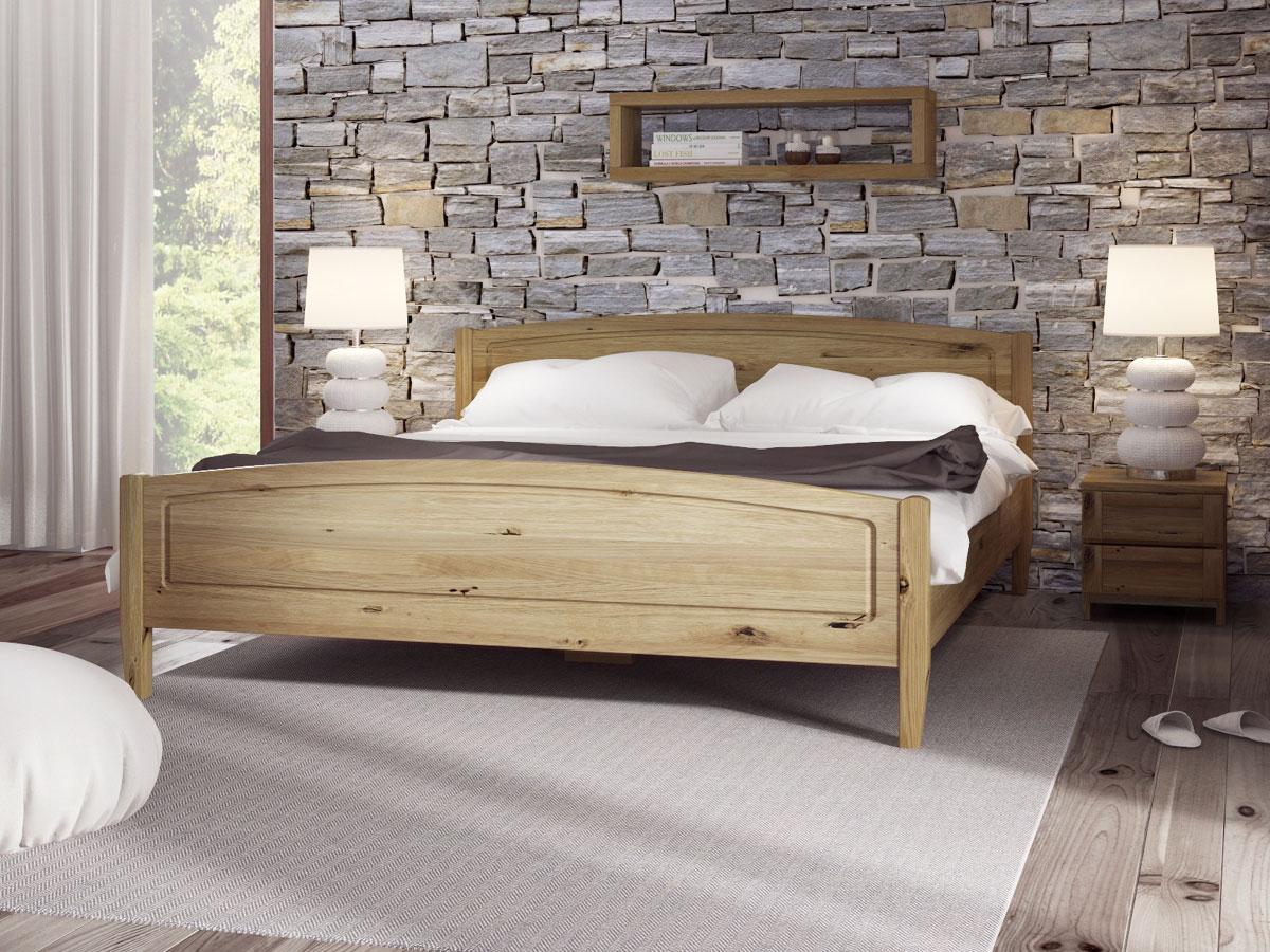 """Schlafzimmer mit Bett aus Wildeiche """"Linda"""" 180 x 200 cm"""