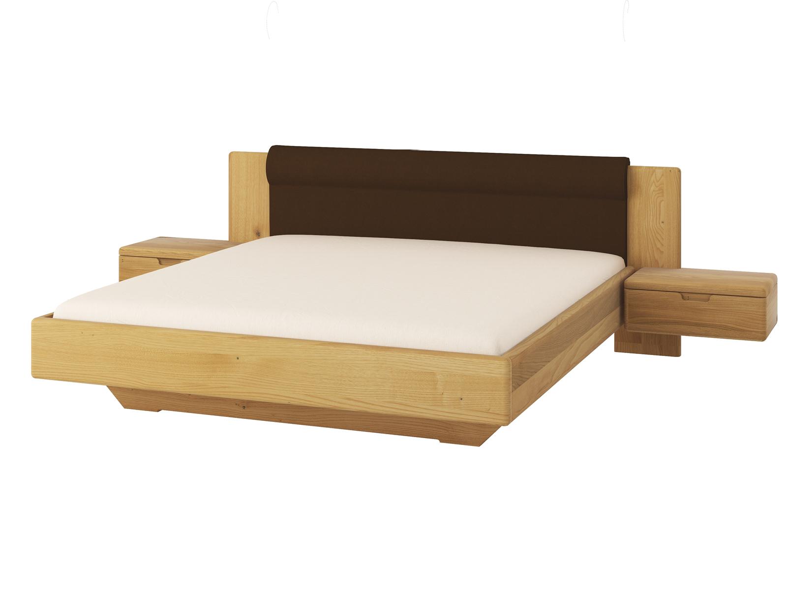 """Kastanienholzbett """"Leonie"""" 180 x 200 cm mit breiten Nachtkästchen und Polsterkopfteil"""