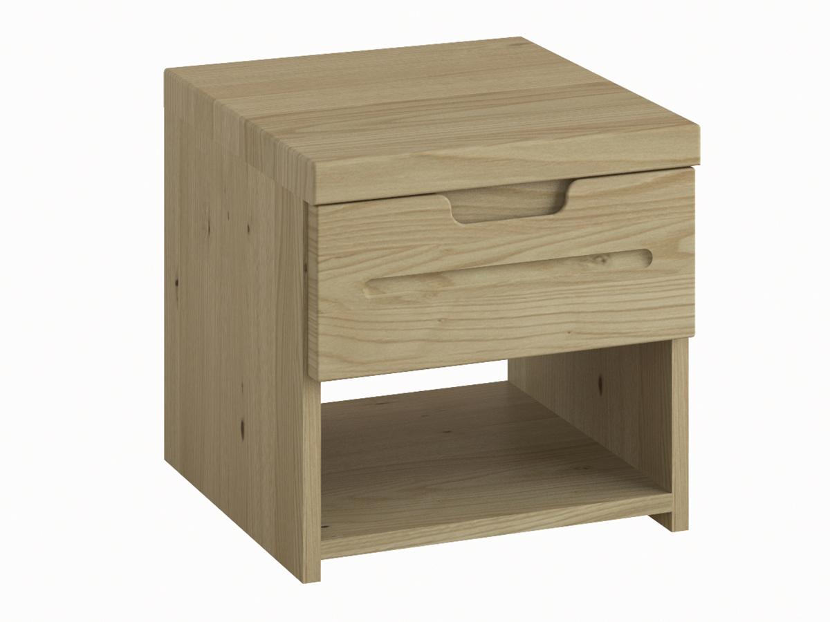"""Nachttisch aus Kastanie """"Lukas"""" mit einer Schublade, in Standardhöhe"""