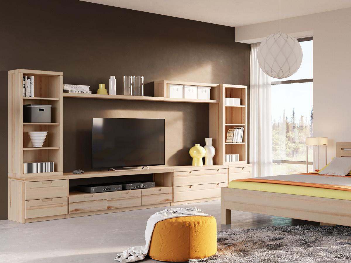 """Wohnraum mit Lowboard / TV-Board """"Lukas"""" in Esche"""