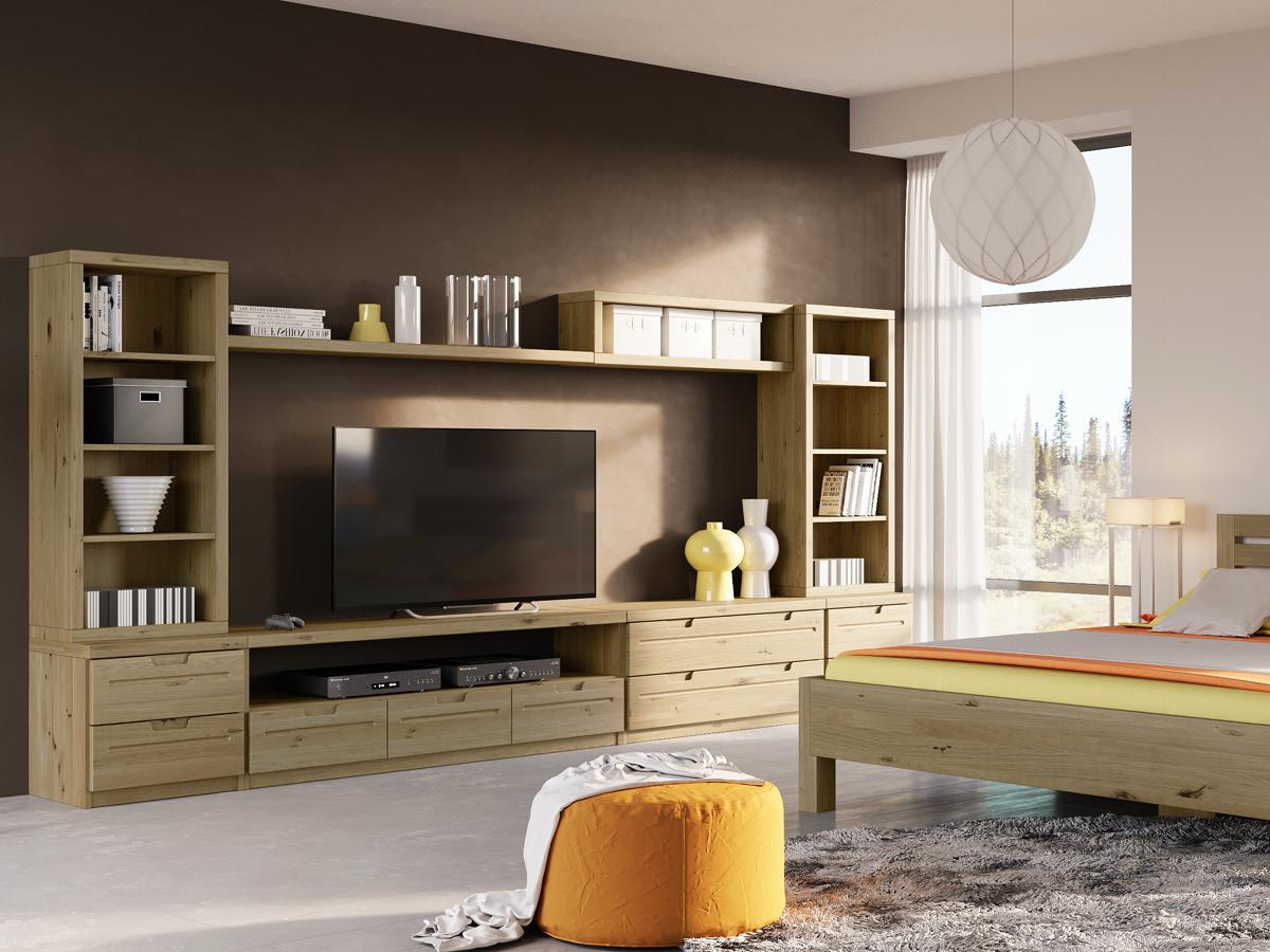"""Wohnraum mit Lowboard / TV-Board """"Lukas"""" in Wildeiche"""
