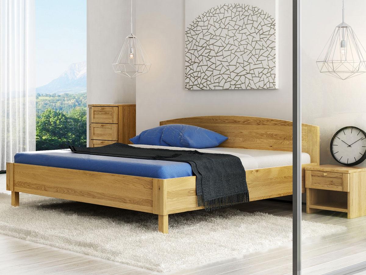 """Schlafzimmer mit Nachttisch in Eiche """"Gerti"""" in Standardhöhe"""