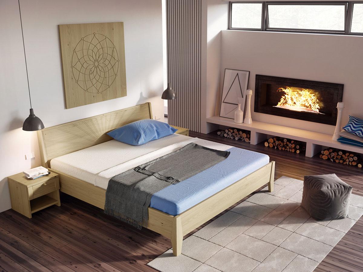 """Schlafzimmer mit Wandbild """"Blume des Lebens"""" Kastanie"""