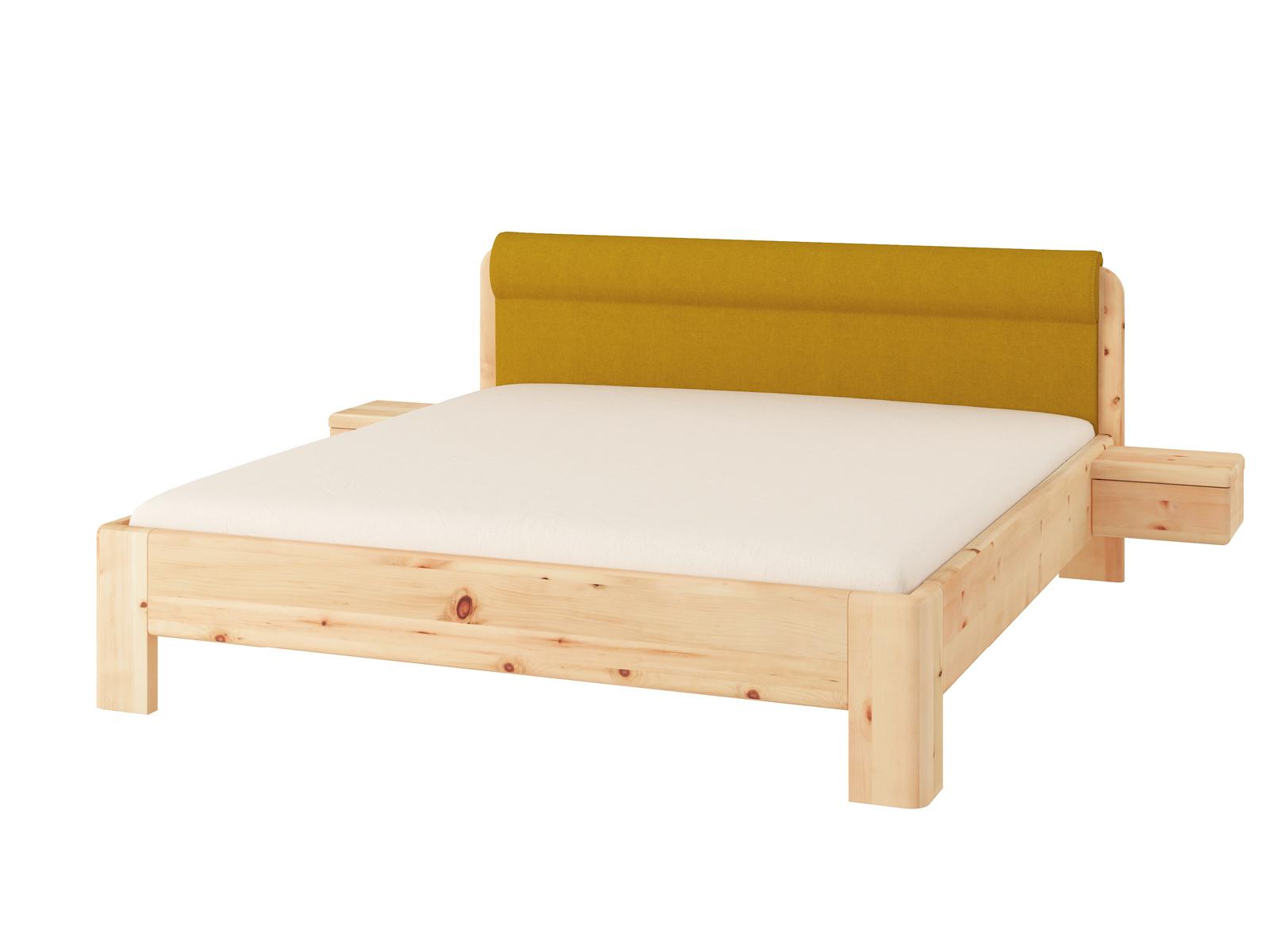 """Zirbenbett """"Niklas"""" 180 x 200 cm mit Nachtkästchen und Polsterkopfteil """"Höpke"""""""