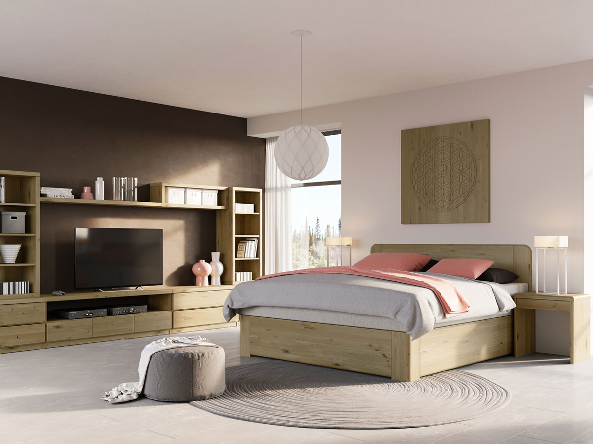 """Schlafzimmer mit Wildeichenbett """"Niklas"""" Boxspring"""