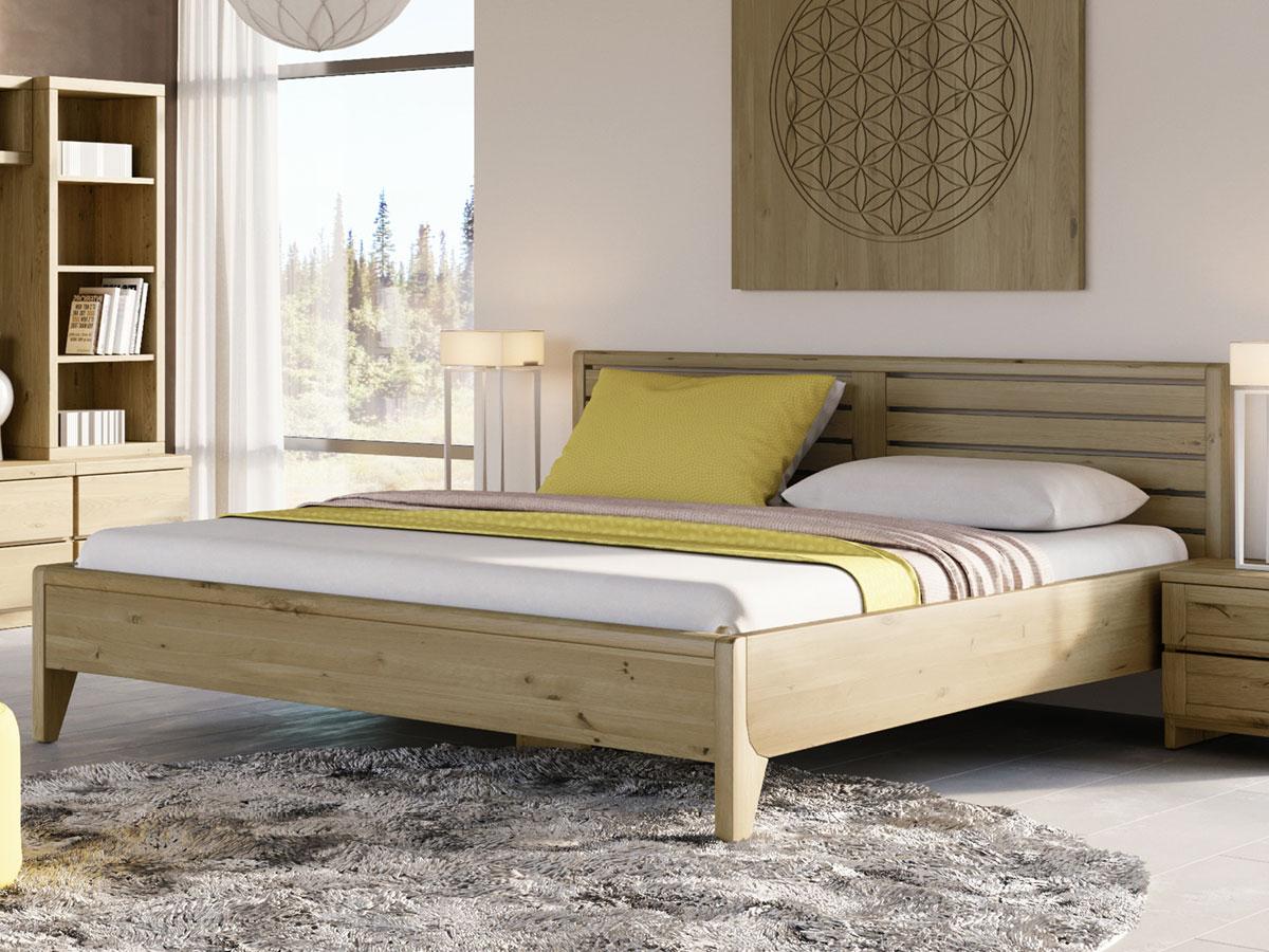 """Schlafzimmer mit Wildeichenbett """"Nina"""" 180 x 200 cm - metallfrei"""
