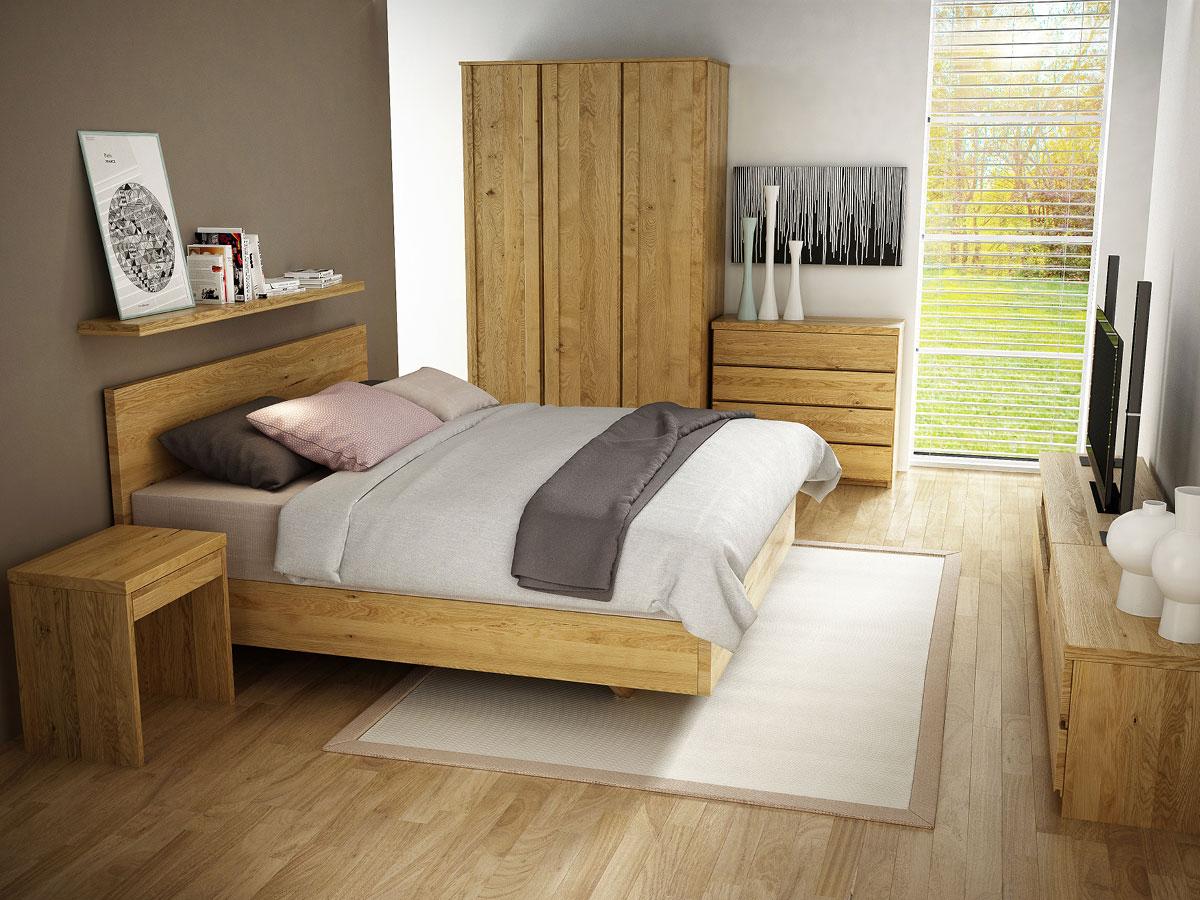 """Schlafzimmer mit Eichenbett """"Patrizia"""" Boxspring 180 x 200 cm"""