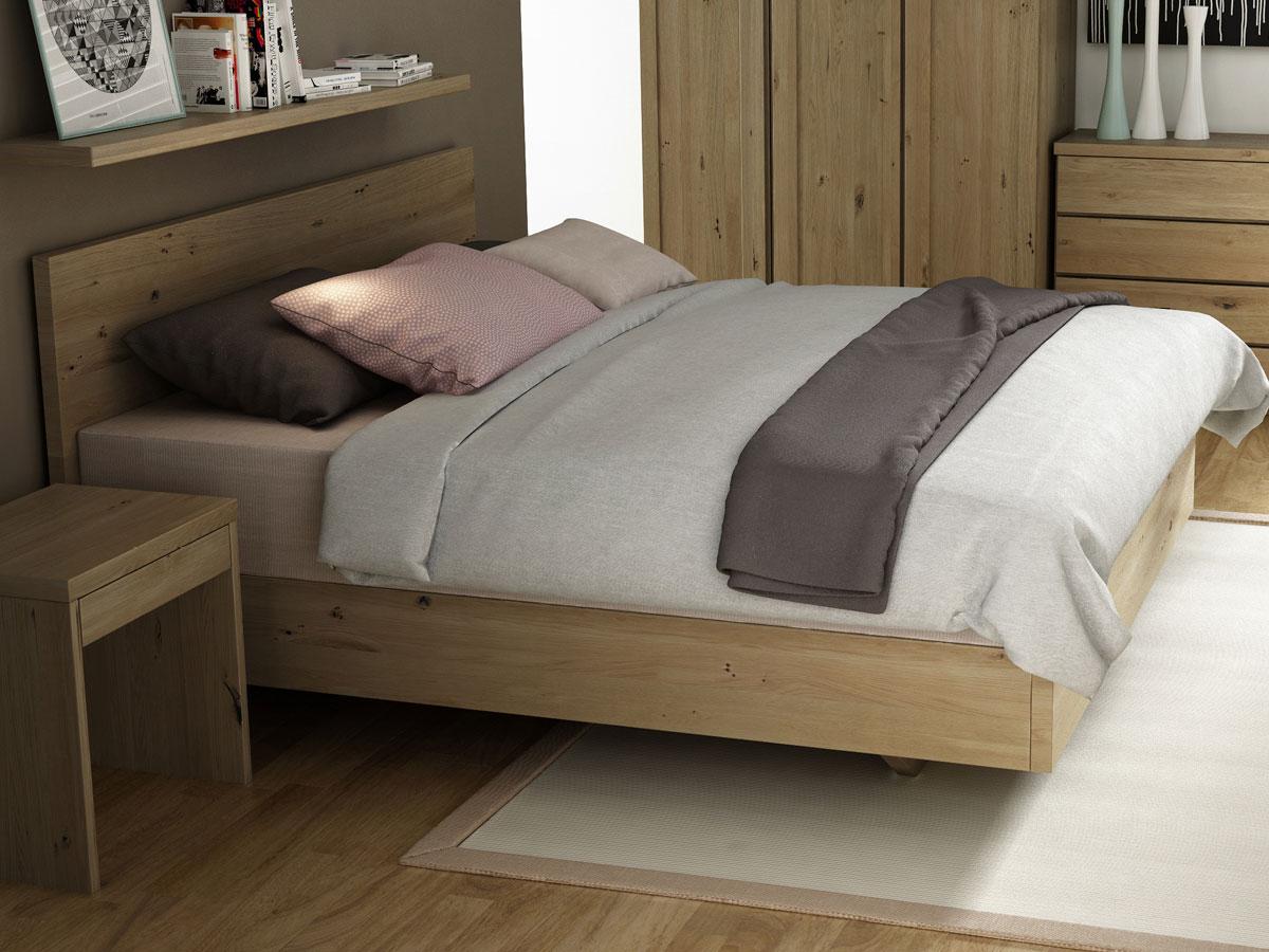 """Schlafzimmer mit Wildeichenbett """"Patrizia"""" Boxspring 180 x 200 cm"""