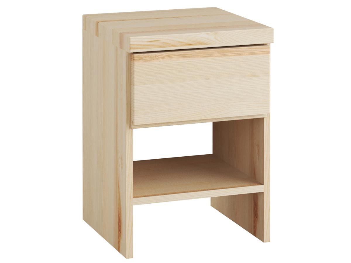 """Nachttisch aus Esche """"Patrizia"""" mit einer Schublade, in Boxspringhöhe"""