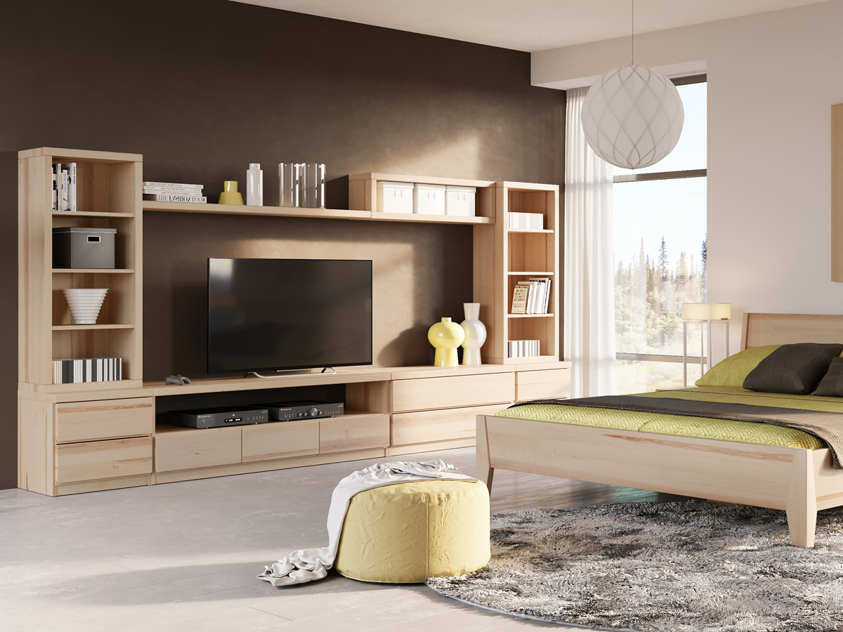"""Wohnzimmer mit Lowboard """"Patrizia"""" in Esche"""