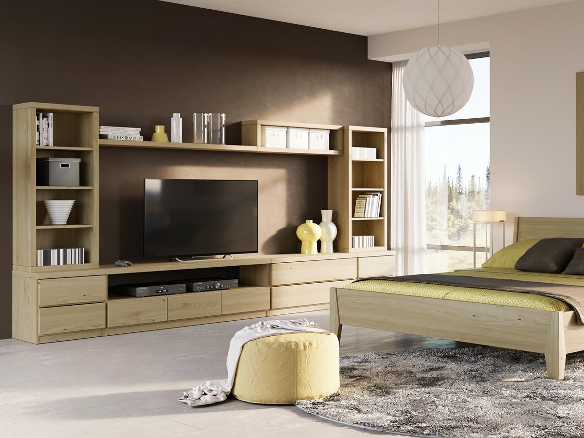 """Wohnzimmer mit Lowboard """"Patrizia"""" in Kastanie"""