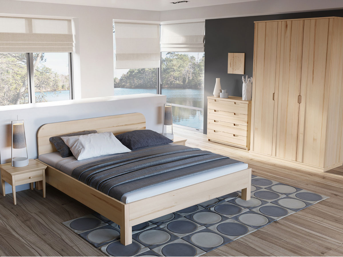 """Schlafzimmer mit Eschenholzbett """"Samuel"""" 180 x 200 cm"""