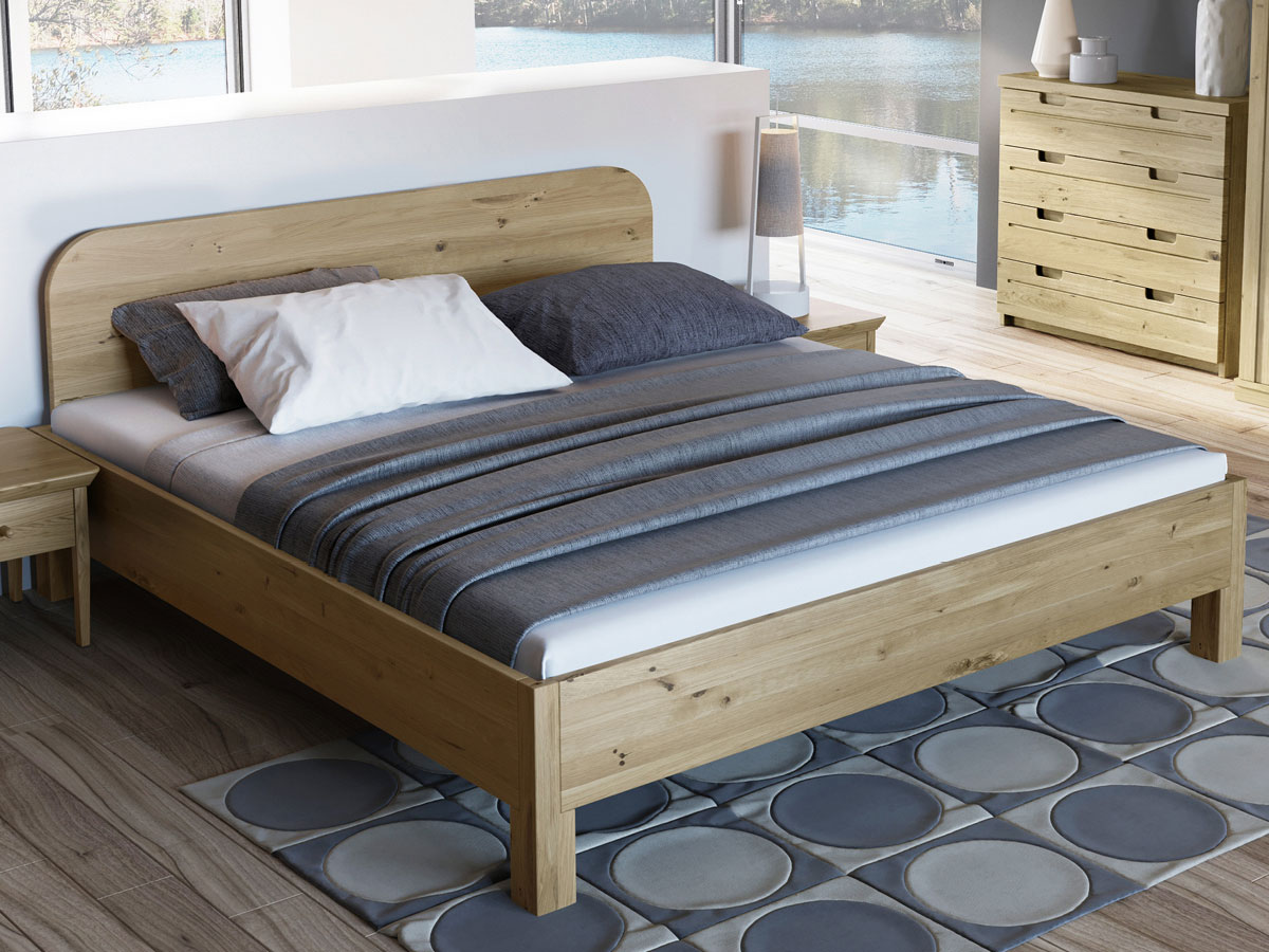 """Schlafzimmer mit Wildeichenholzbett """"Samuel"""" 180 x 200 cm"""