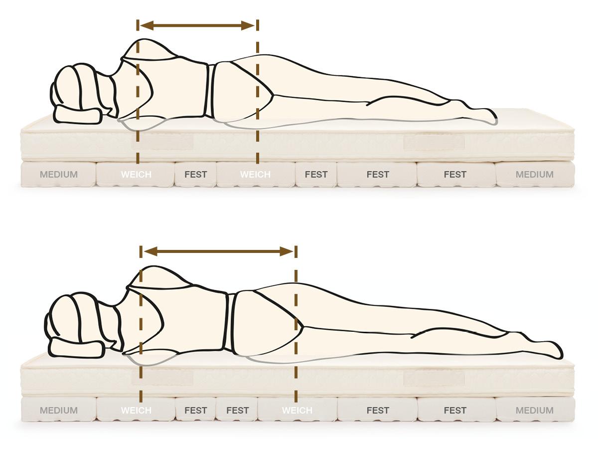 Unterschiedliche Reihung der Aktiv-Segmente je nach Körpergröße