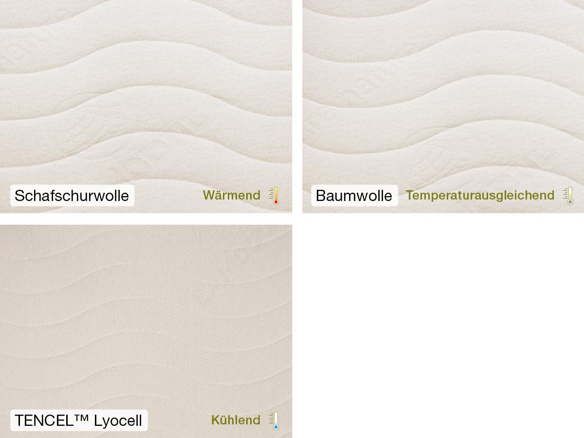 Drei verschiedene Bio-Bezüge: Baumwolle kbA, TENCEL™ Lyocell, Schafschurwolle kbT