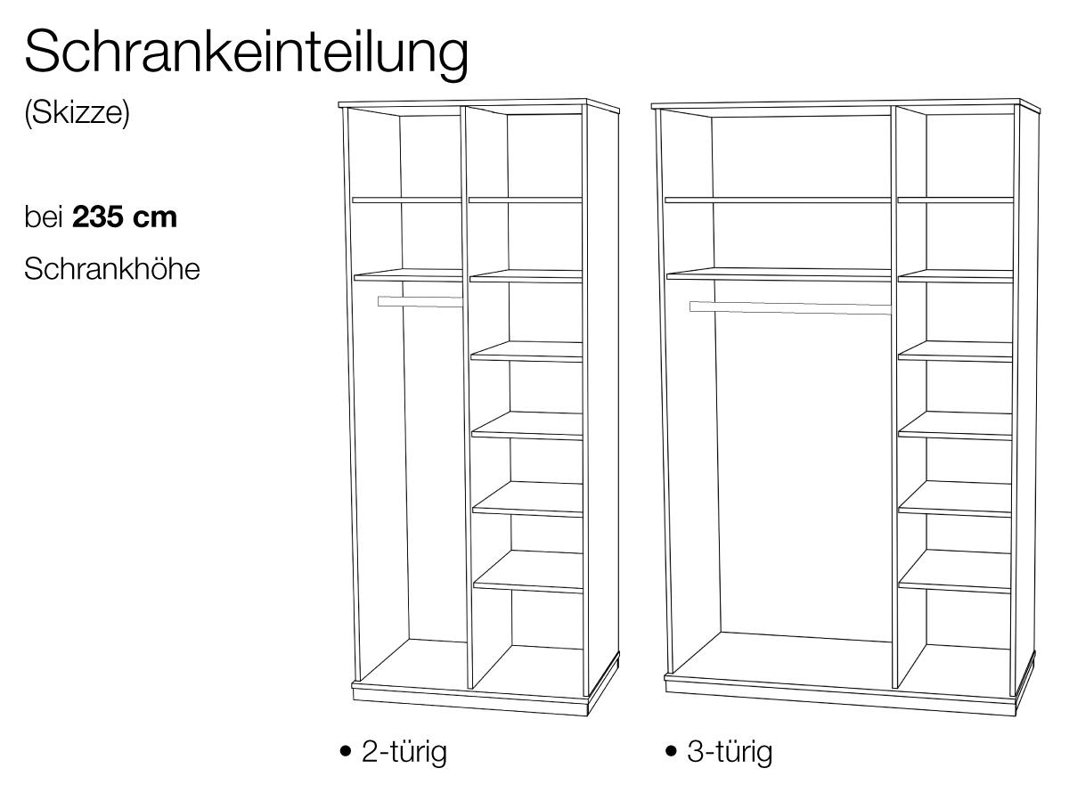 Kleiderschrank Einteilung  bei 235 cm Schrankhöhe