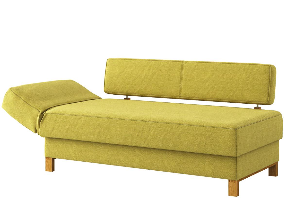 """Sofa """"Stella"""" mit Stoff """"Ankogel"""": Sofafarbe Limette, Kopfteil links, Holzfüße in Eiche"""